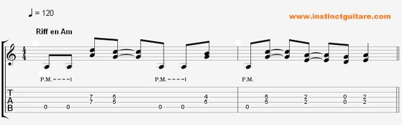 Jouer un riff rock en La mineur à la guitare (video)