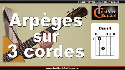 Arpèges sur 3 cordes à la guitare